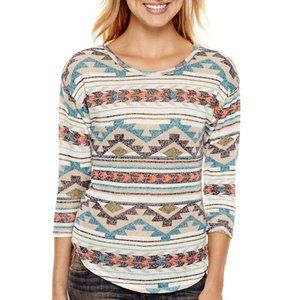 Almost Famous 3/4-Sleeve Hatchi Top Pullover Shirt